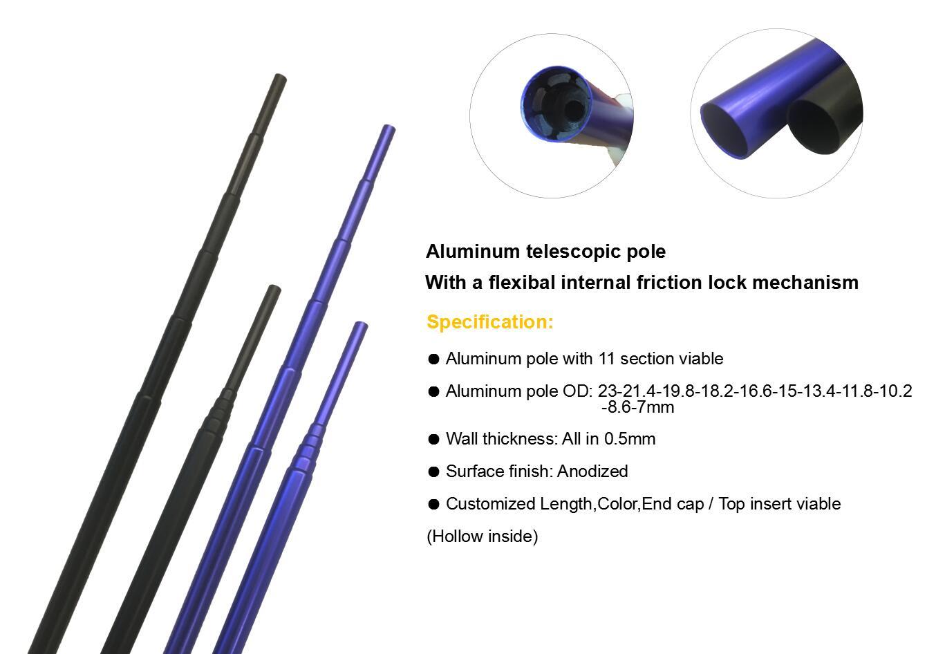 Small aluminum telescopic round tube aluminum extension pole